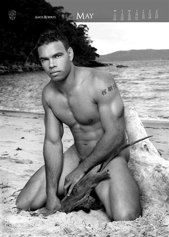 Amos Roberts in Naked Rugby League Calendar May Page