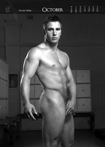 Stuart Webb in Naked Rugby League Calendar October Page