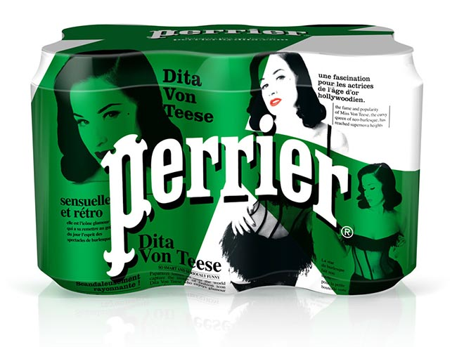 Perrier Dita von Teese cans