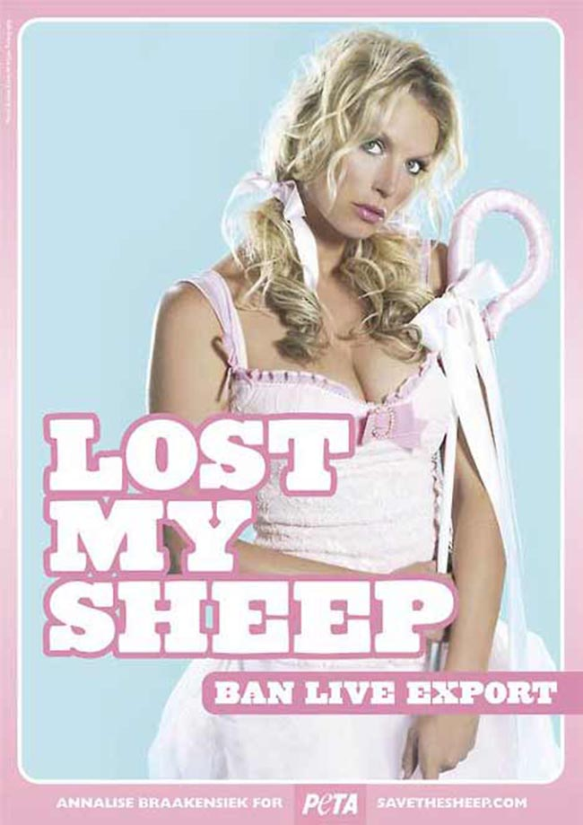 Annalise Braakensiek as Bo Peep in PETA print ad