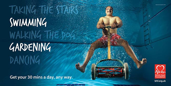 Man and mower in swimming pool in BHF poster