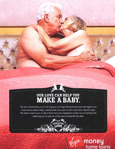 Couple embrace in Virgin Money print ad