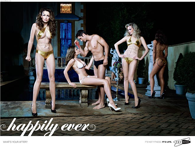 Models marked for plastic surgery in Equinox print ad