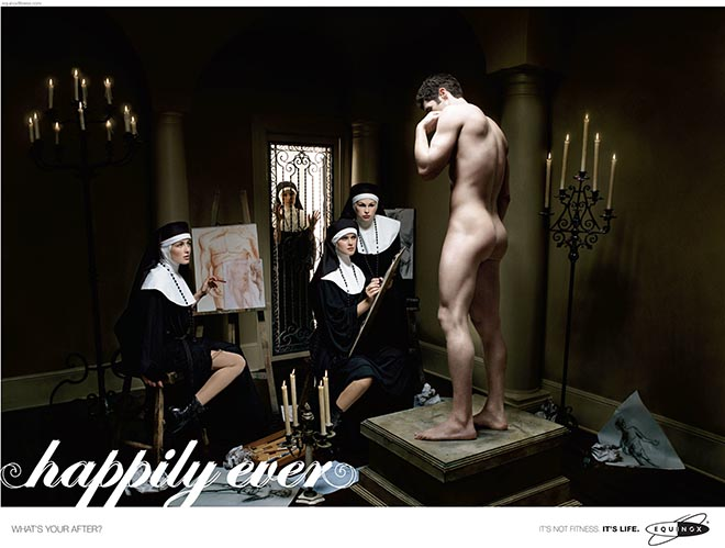 Male model poses nude for nuns art class in Equinox print ad