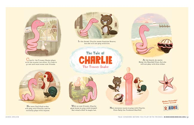 AIDES Charlie the Trouser Snake cartoon