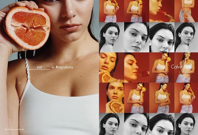 Calvin Klein I eat in my Calvins - Kendall Jenner collage
